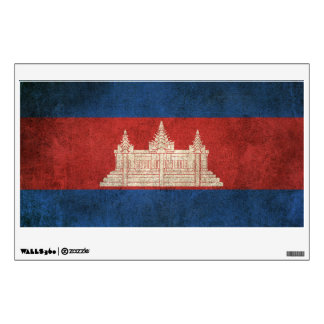 Vintage Distressed Flag of Cambodia Wall Sticker