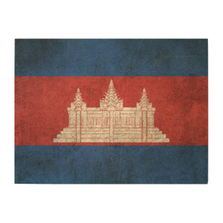 Vintage Distressed Flag of Cambodia Wood Wall Art