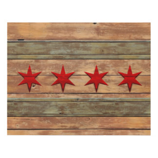 Vintage Distressed Flag of Chicago Wood Look Panel Wall Art