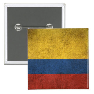 Vintage Distressed Flag of Colombia 2 Inch Square Button