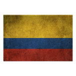 Vintage Distressed Flag of Colombia Poster