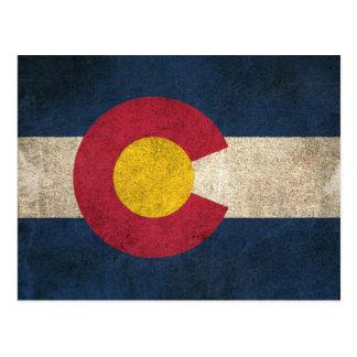Vintage Distressed Flag of Colorado Postcard