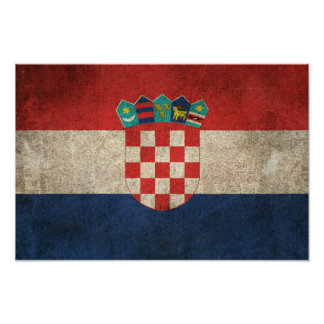 Vintage Distressed Flag of Croatia Poster