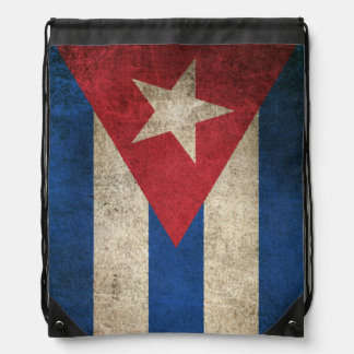Vintage Distressed Flag of Cuba Drawstring Bag