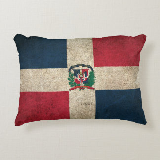 Vintage Distressed Flag of Dominican Republic Accent Pillow