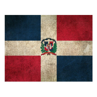 Vintage Distressed Flag of Dominican Republic Postcard