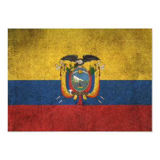 Vintage Distressed Flag of Ecuador 5x7 Paper Invitation Card