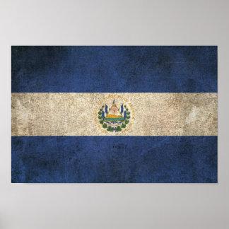 Vintage Distressed Flag of El Salvador Poster