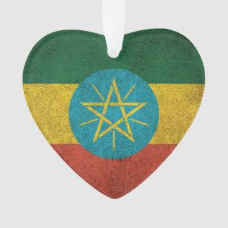 Vintage Distressed Flag of Ethiopia Ornament