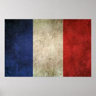 Vintage Distressed Flag of France Poster