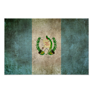 Vintage Distressed Flag of Guatemala Poster