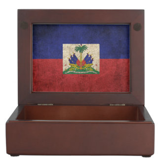 Vintage Distressed Flag of Haiti Memory Boxes