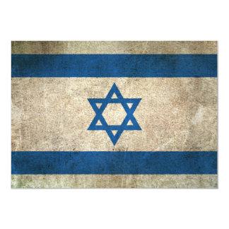 """Vintage Distressed Flag of Israel 5"""" X 7"""" Invitation Card"""