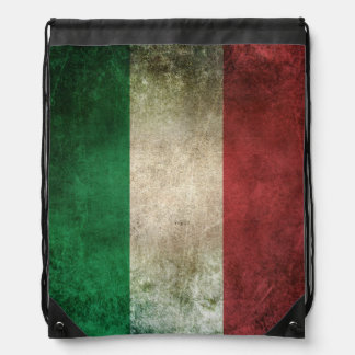 Vintage Distressed Flag of Italy Drawstring Bag