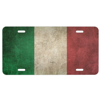 Vintage Distressed Flag of Italy License Plate