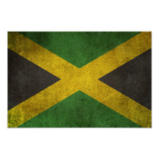 Vintage Distressed Flag of Jamaica Poster