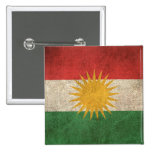 Vintage Distressed Flag of Kurdistan Pinback Button
