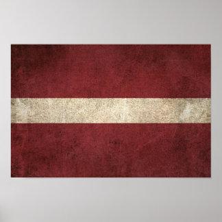 Vintage Distressed Flag of Latvia Poster