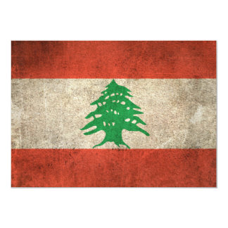 Vintage Distressed Flag of Lebanon Card