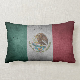 Vintage Distressed Flag of Mexico Lumbar Pillow