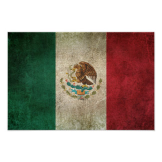 Vintage Distressed Flag of Mexico Poster