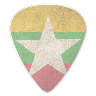 Vintage Distressed Flag of Myanmar White Delrin Guitar Pick