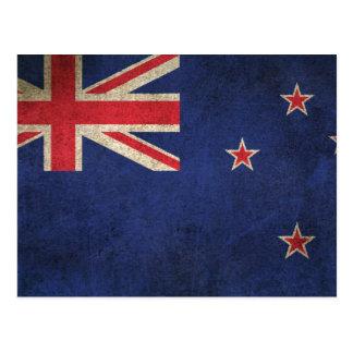 Vintage Distressed Flag of New Zealand Postcard