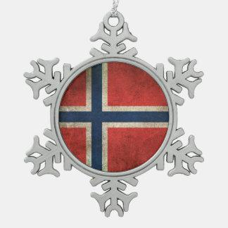 Vintage Distressed Flag of Norway Snowflake Pewter Christmas Ornament