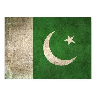 Vintage Distressed Flag of Pakistan 5x7 Paper Invitation Card