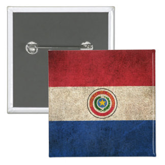 Vintage Distressed Flag of Paraguay 2 Inch Square Button
