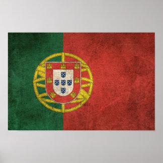 Vintage Distressed Flag of Portugal Poster