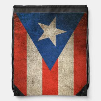 Vintage Distressed Flag of Puerto Rico Drawstring Bag