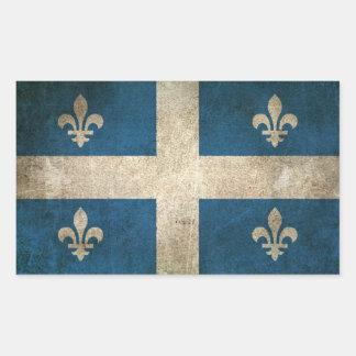 Vintage Distressed Flag of Quebec Rectangular Sticker