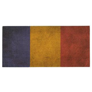 Vintage Distressed Flag of Romania Wood Flash Drive