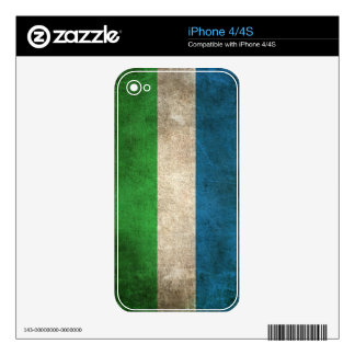 Vintage Distressed Flag of Sierra Leone Decals For The iPhone 4S