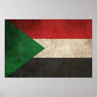 Vintage Distressed Flag of Sudan Poster
