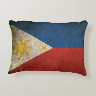 Vintage Distressed Flag of The Philippines Accent Pillow