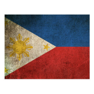 Vintage Distressed Flag of The Philippines Postcard