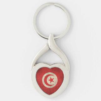 Vintage Distressed Flag of Tunisia Keychain