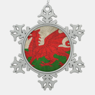 Vintage Distressed Flag of Wales Snowflake Pewter Christmas Ornament