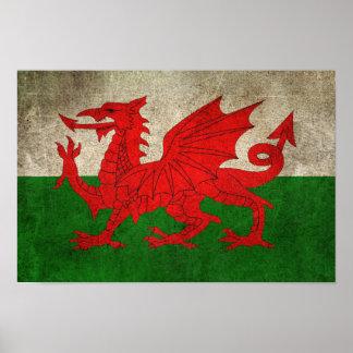 Vintage Distressed Flag of Wales Poster