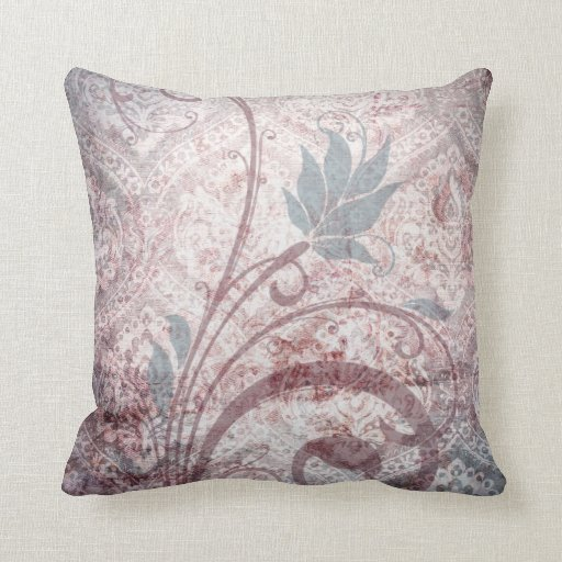 Vintage Distressed Floral Damask Throw Pillows