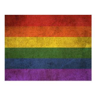 Vintage Distressed Gay Pride Rainbow Flag Postcard