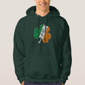 Vintage Distressed Irish Flag Shamrock Hoodie