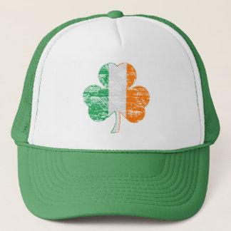 Vintage Distressed Irish Flag Shamrock Trucker Hat