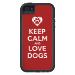 Vintage Distressed Keep Calm And Love Dogs iPhone 5 Cases