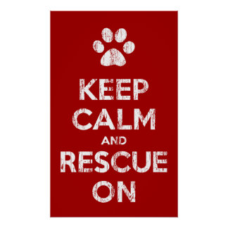 Vintage Distressed Keep Calm And Rescue On Poster