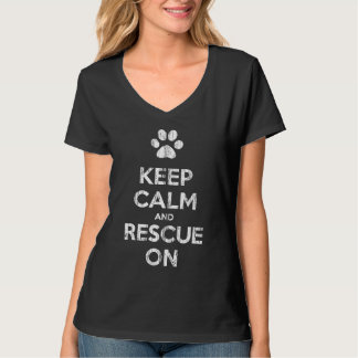 Vintage Distressed Keep Calm & Rescue On T-shirt