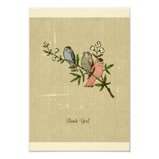 Vintage Distressed Linen Birds Thank You Notes Card