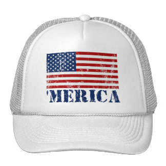 Vintage Distressed 'MERICA US Flag Trucker Hat